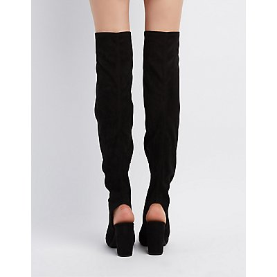 Qupid Peep Toe Over-The-Knee Boots