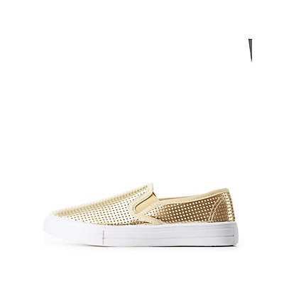 Qupid Metallic Perforated Sneakers
