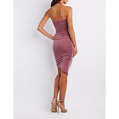 Ruched Halter Bodycon Dress