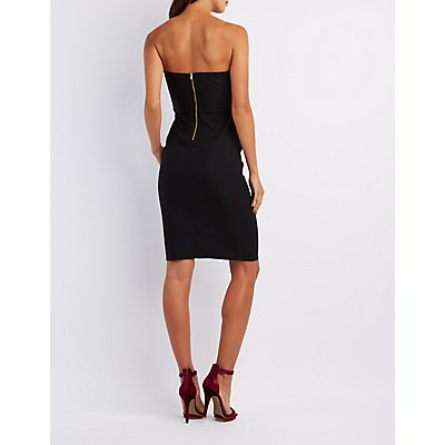 Notched Strapless Bodycon Dress