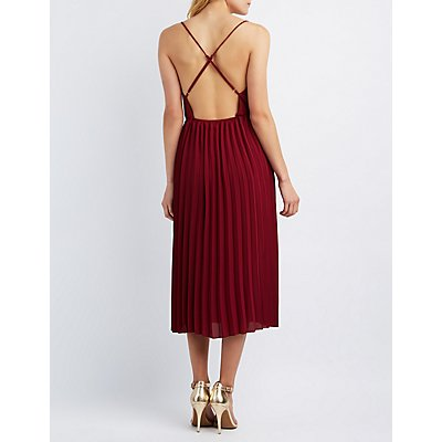 Surplice Pleated Maxi Dress