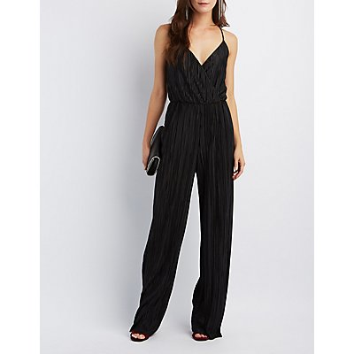 Micro Pleated Surplice Jumpsuit