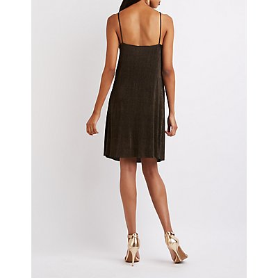 Shimmer Pleated Shift Dress