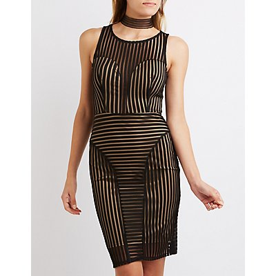 Shadow Stripe Bodycon Dress
