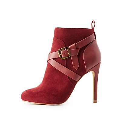 Buckled Faux Suede Dress Booties