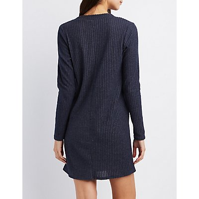 Ribbed V-Neck Sweater Dress