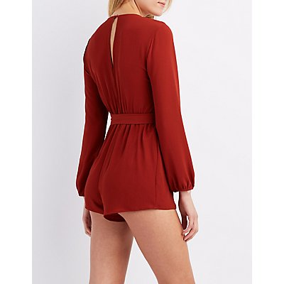 Crochet-Trim Surplice Romper