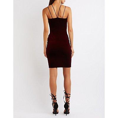 Strappy Velvet Bodycon Dress