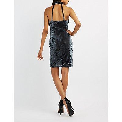 Velvet Mock Neck Open Back Dress