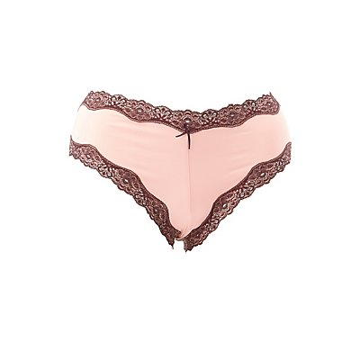 Plus Size Lace-Trim Lace-Up Cheeky Panties