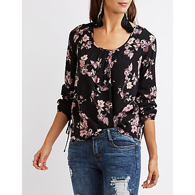Floral Open Back Blouse