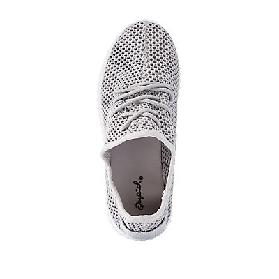 Qupid Perforated Woven Sneakers