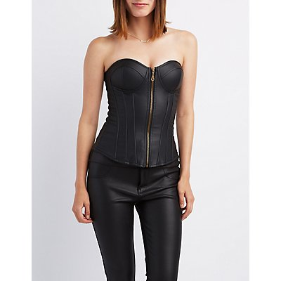 Faux Leather Strapless Corset Top