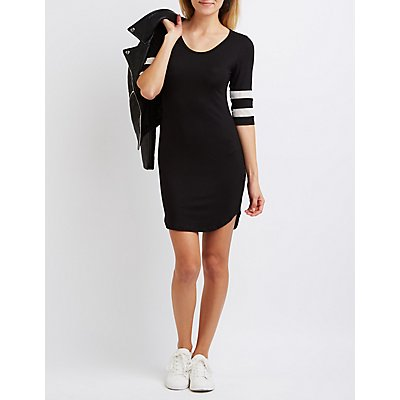 Mesh Varsity Stripe T-Shirt Dress