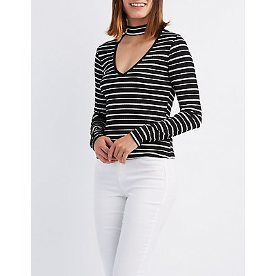 Striped Cut-Out Mock Neck Top