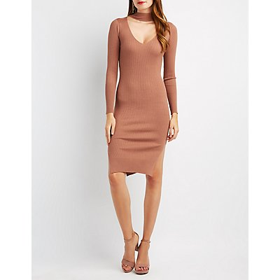 Ribbed Turtleneck Cut-Out Dress