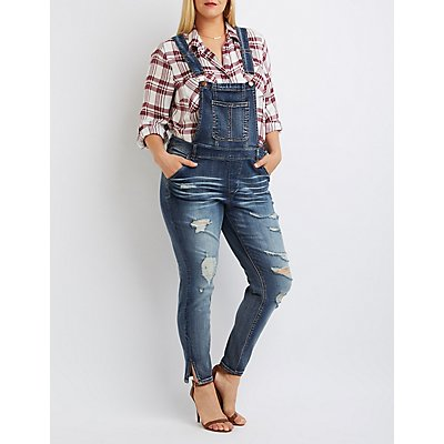 Plus Size Dollhouse Distressed Denim Overalls | Charlotte Russe