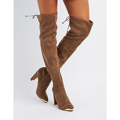Gold-Tipped Over-The-Knee Boots | Charlotte Russe