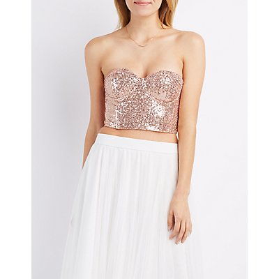 Sequin Strapless Bustier Crop Top
