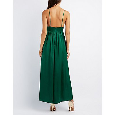 Satin V-Neck Maxi Dress