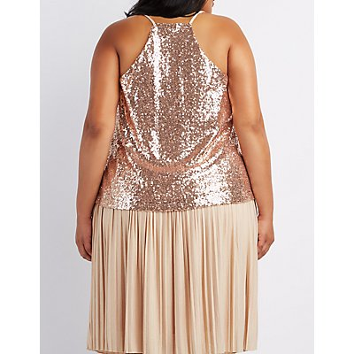 Plus Size Sequin Cami Tank Top