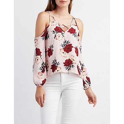 Floral Lattice Cold Shoulder Top