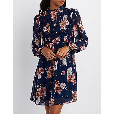 Floral Smocked Skater Dress