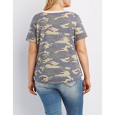 Plus Size Camo Cut-Out Tee