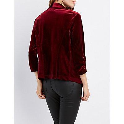 Velvet Ruched Sleeve Blazer