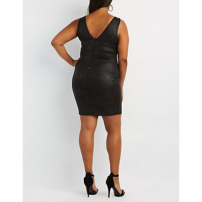 Plus Size Faux Leather Caged Bodycon Dress
