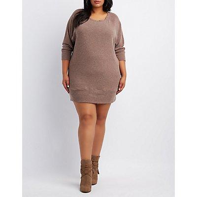Plus Size Raglan Sweatshirt Dress