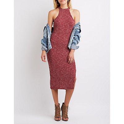 Marled Mock Neck Midi Dress