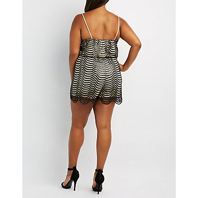 Plus Size Sequin Crochet Surplice Romper