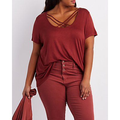 Plus Size Lattice-Front Boyfriend Tee