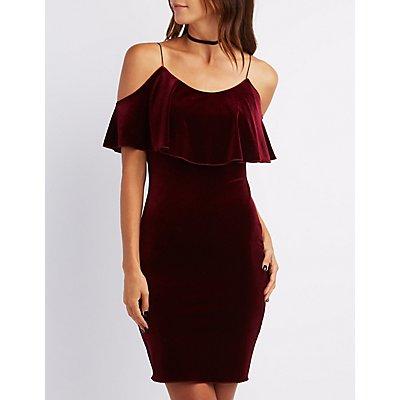 Velvet Cold Shoulder Ruffle Dress