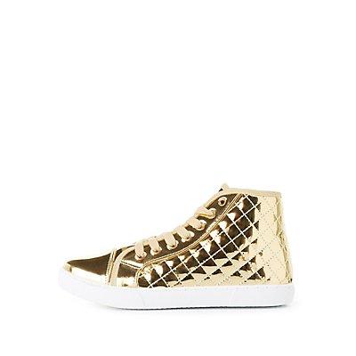 Qupid Metallic High Top Sneakers