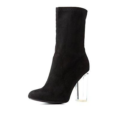 Lucite Heel Sock Booties