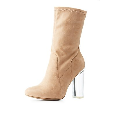 Lucite Heel Sock Booties