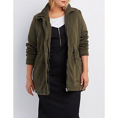 Plus Size Knit Drawstring Anorak Jacket