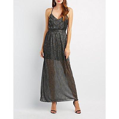 Shimmer Strappy V-Neck Maxi Dress