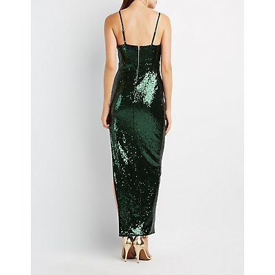 Sequin Asymmetrical Maxi Dress