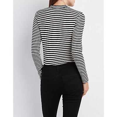 Striped Cut-Out Mock Neck Bodysuit
