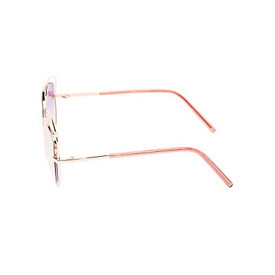 Wire Oversize Cat Eye Sunglasses