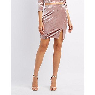 Velvet Slit Pencil Skirt
