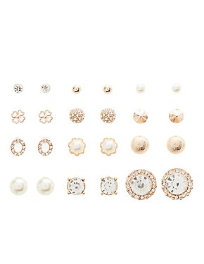 Pearl & Rhinestone Stud Earrings - 12 Pack
