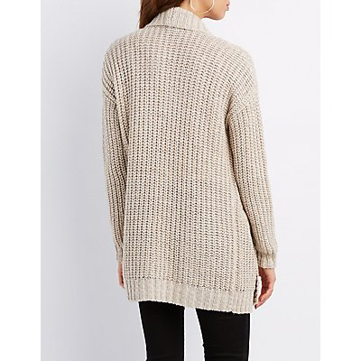 Shimmer Knit Open Cardigan