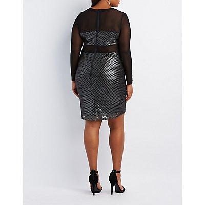 Plus Size Metallic Mesh-Trim Bodycon Dress