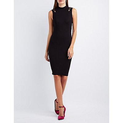 Ribbed Lattice-Inset Mock Neck Dress