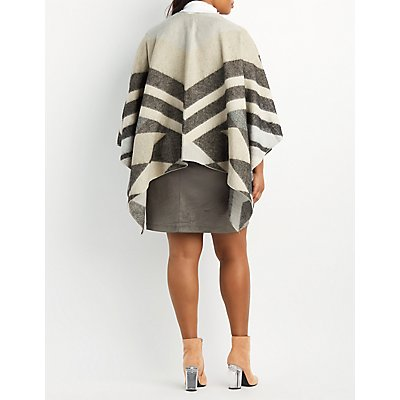 Plus Size Chevron Blanket Poncho