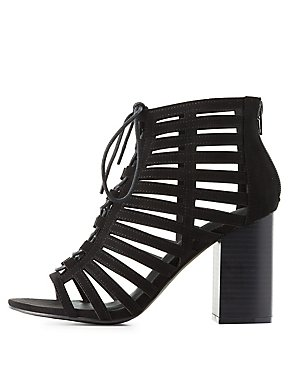 Caged Laser Cut Lace-Up Sandals